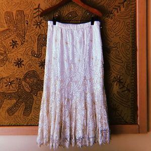 🌼VTG Beaded White Flowy Bohemian Skirt